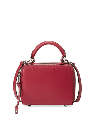 Leather Box Crossbody Bag, Dark Red
