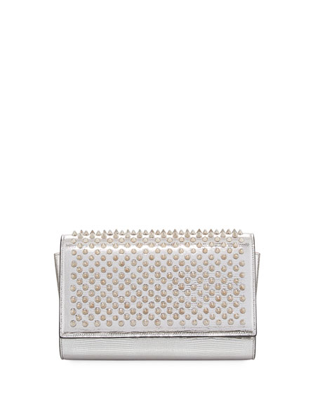 Paloma Dinospikes Metallic Lizard-Embossed Clutch Bag in White