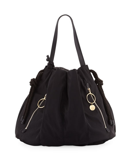 See by Chloe Extra Large Nylon Drawstring Hobo