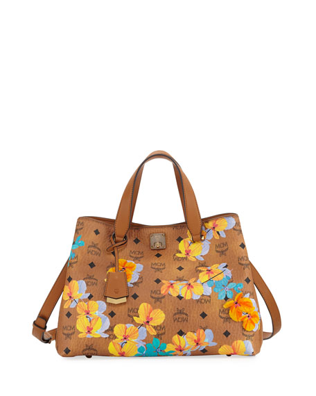 MCM Essential Floral-Print Coated Tote Bag