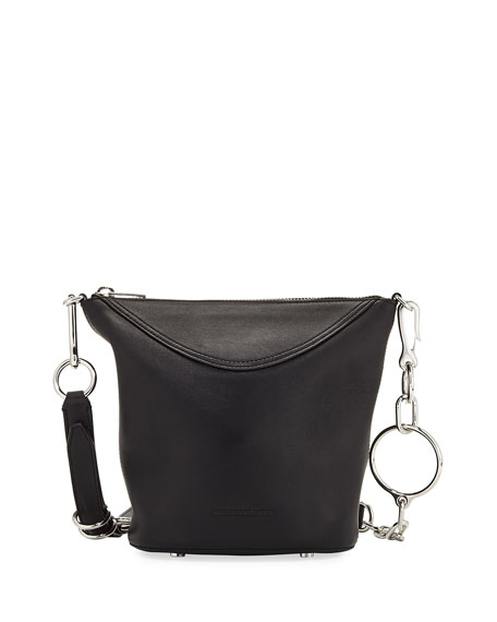 ACE LEATHER BUCKET BAG - BLACK