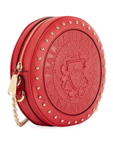 Embossed Leather Circle Crossbody Bag