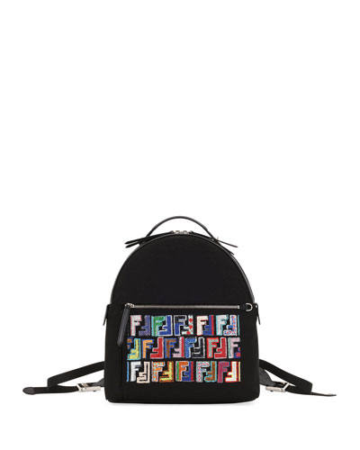 Fendi Fun Fair Nylon & Sequined Leather Backpack