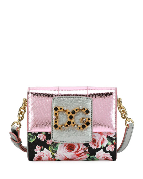 Dolce & Gabbana DG Millenials Snakeskin Floral Shoulder