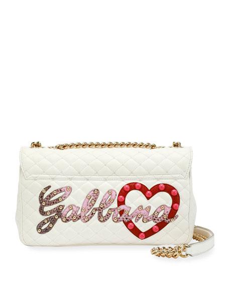 Lucia Dolce Patch Napa Leather Shoulder Bag