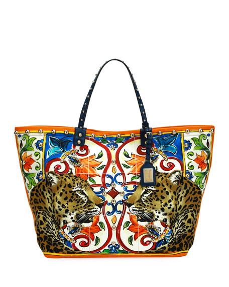Dolce & Gabbana Beatrice Leopard/Maiolica Printed Canvas Tote