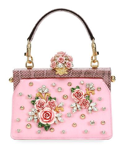 Vanda Embellished Rose Top-Handle Bag