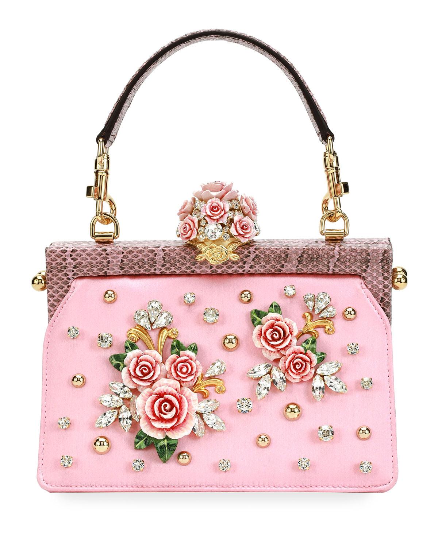 b5af1a626ba Dolce & Gabbana Vanda Embellished Rose Top-Handle Bag | Neiman Marcus