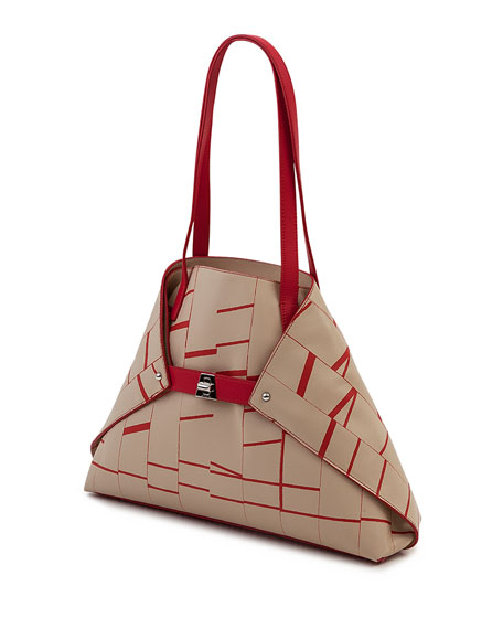 Ai Small Soft Printed Leather Shoulder Tote Bag