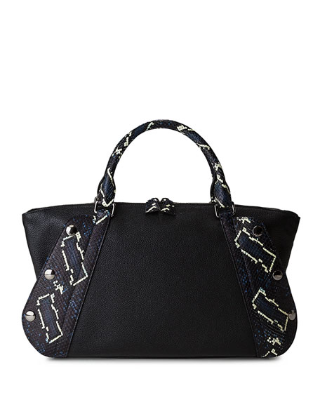 Akris Aimee Small Convertible Leather/Python Satchel Bag