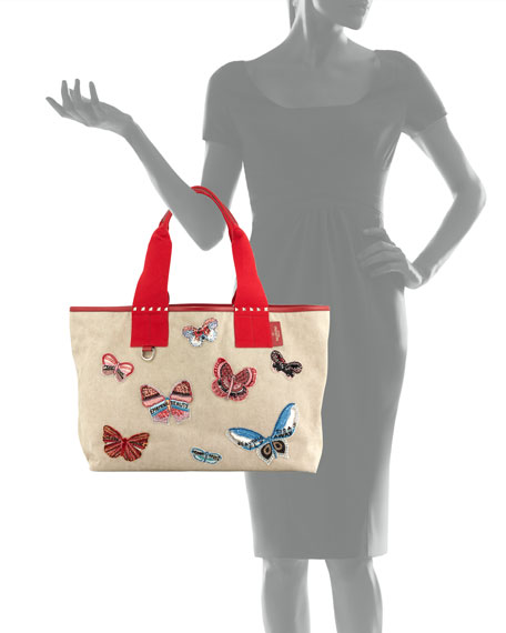 Grande Plage Butterfly Embroidered Tote Bag