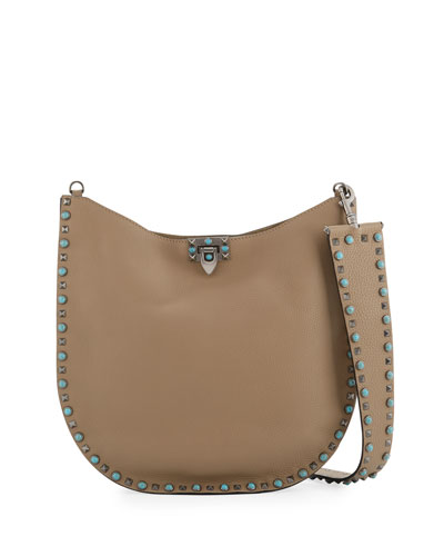 Rolling Rockstud Medium Leather Hobo Bag