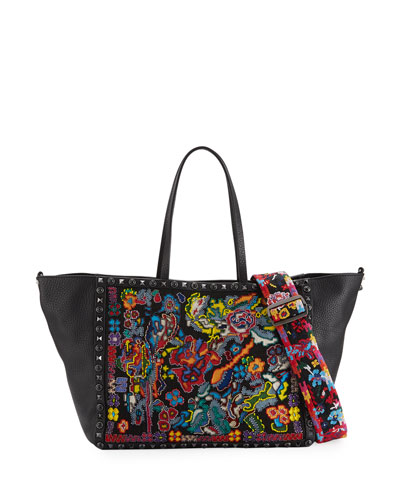 Rockstud Rolling Guitar Embroidered Tote Bag