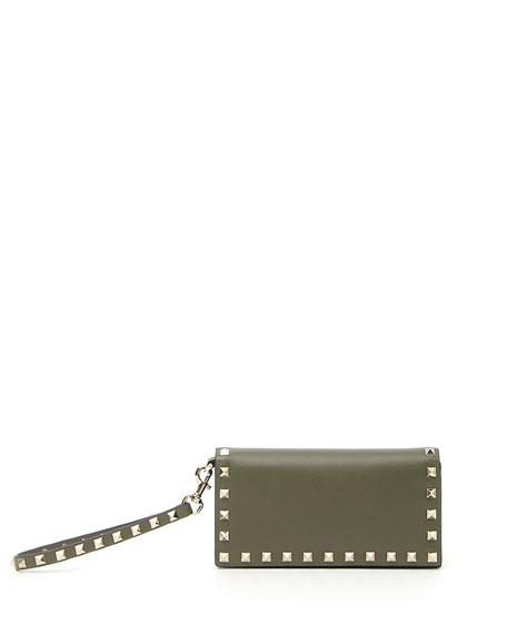 Rockstud Leather Continental Wristlet Wallet