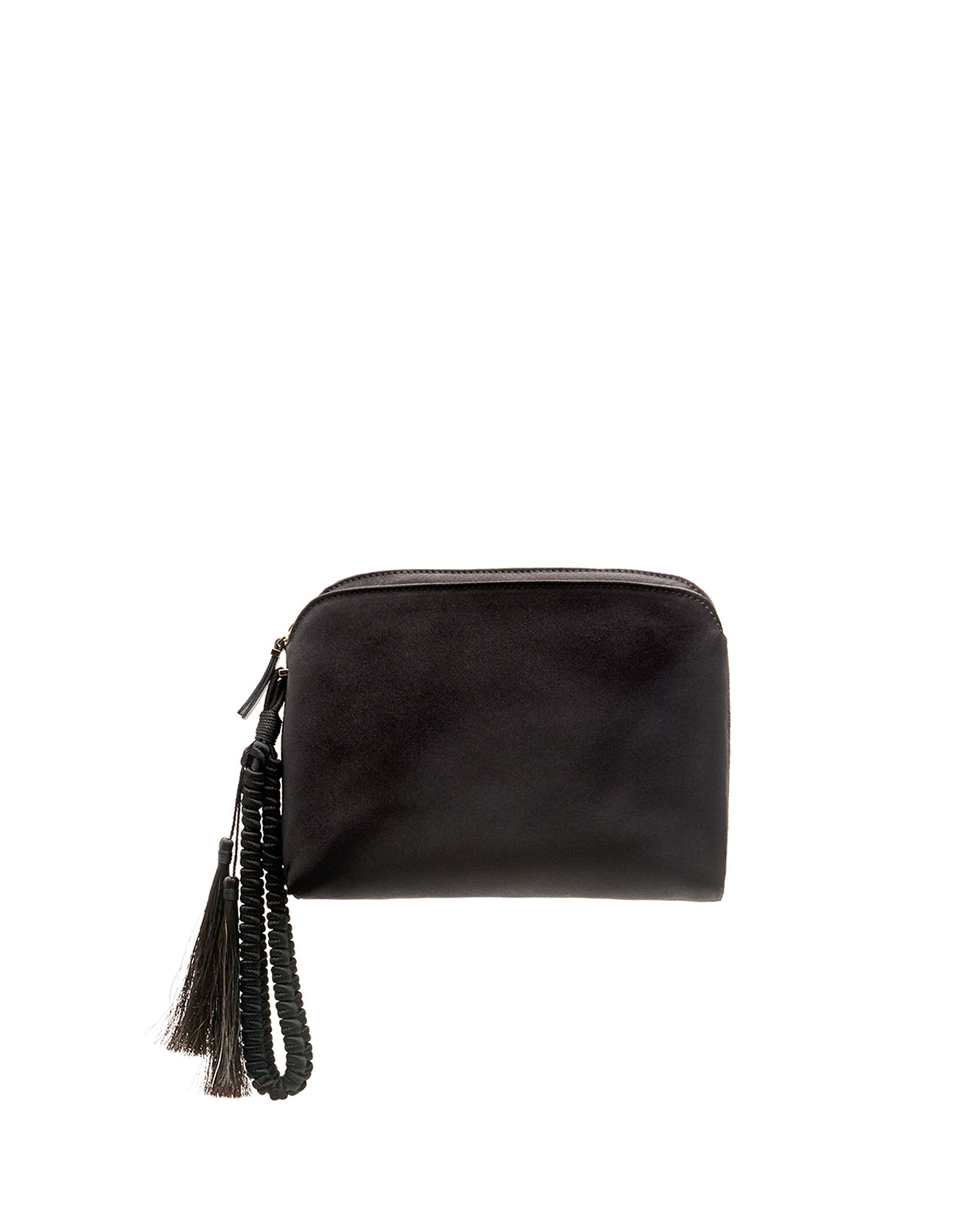 The Row Tassel Braided Mini Wristlet Bag