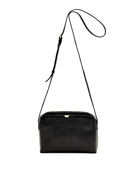 Patent Leather Multi Pouch Crossbody Bag in Black