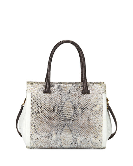 Medium Python and Crocodile Tote Bag, Gray