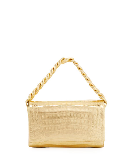 Convertible Metallic Crocodile Chain-Trim Flap Bag