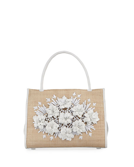 Nancy Gonzalez Wallis Floral Crocodile & Straw Tote