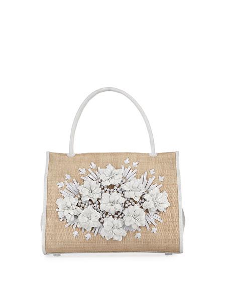 Wallis Floral Crocodile & Straw Tote Bag