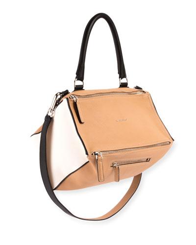 Pandora Medium Bicolor Sugar Leather Satchel Bag