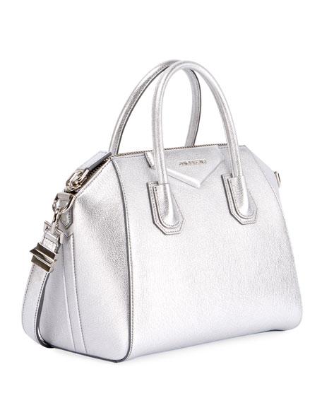 Antigona Small Metallic Leather Satchel Bag