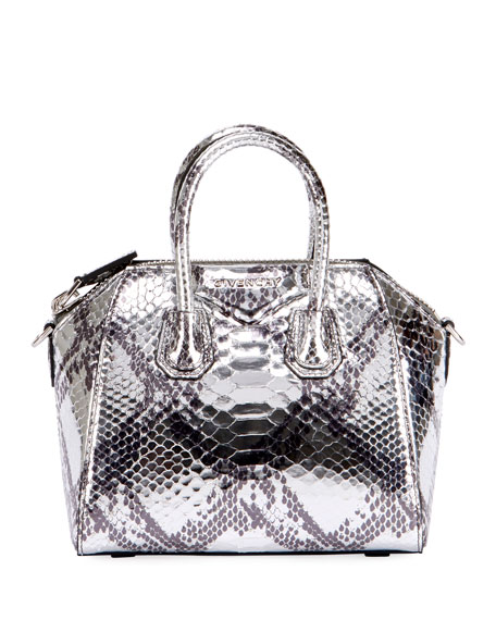 Antigona Mini Laminated Python Satchel Bag
