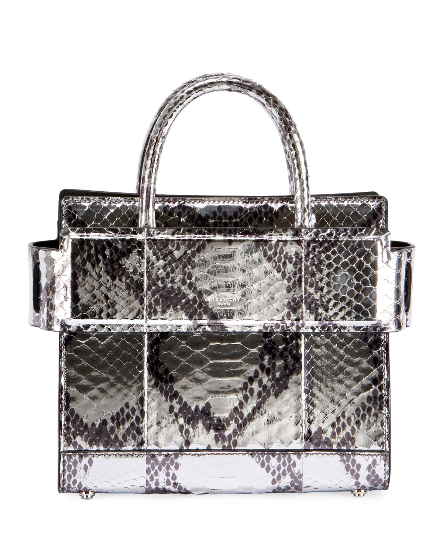 16fe2d59792 Givenchy Horizon Mini Laminated Python Satchel Bag   Neiman Marcus