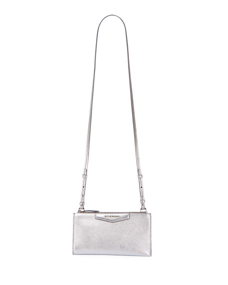 Givenchy Antigona Medium Metallic Leather Crossbody Pouch Bag
