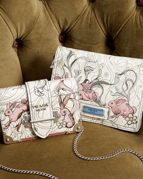 Glace Rabbit-Print Medium Shoulder Bag