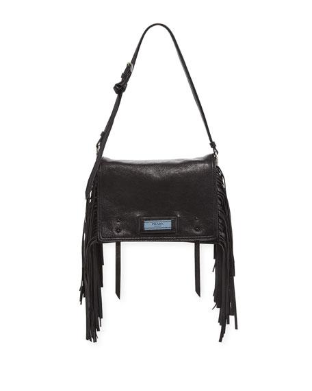 Prada Glace Etiquette Fringe Shoulder Bag