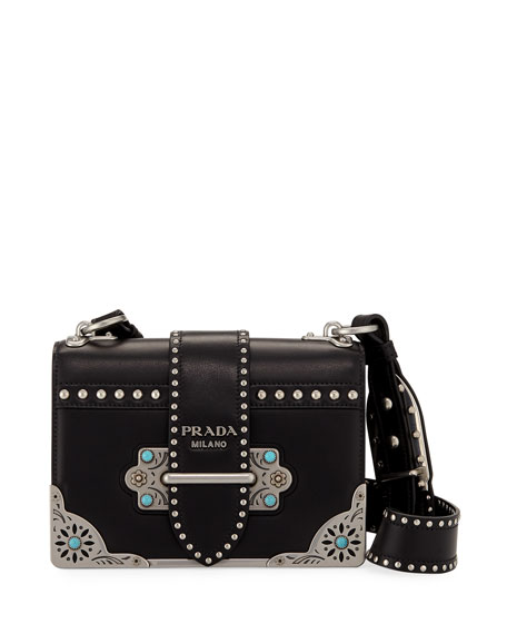 Prada Cahier Small City Calf Studded Shoulder Bag