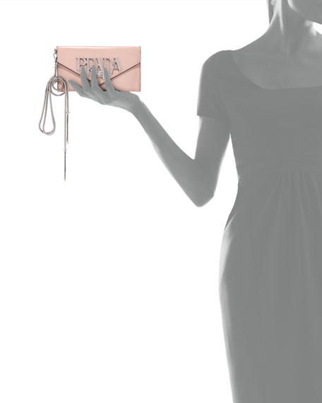 Spazzolato Logo Envelope Clutch Bag