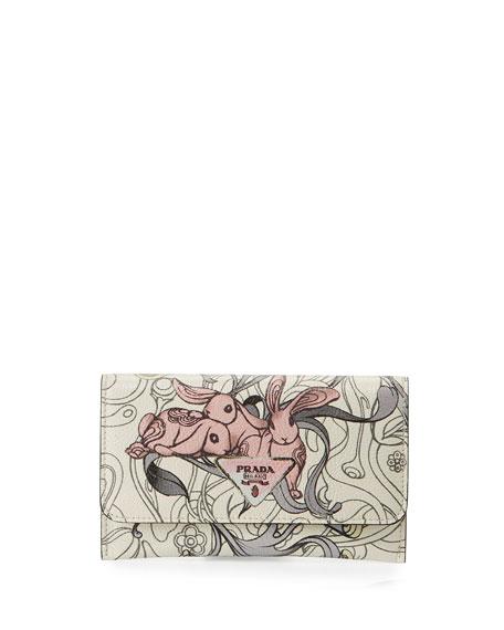 Prada Glace Rabbit Long Calf Wallet
