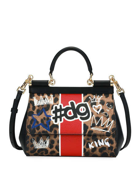 Sicily DG Graffiti Small Satchel Bag