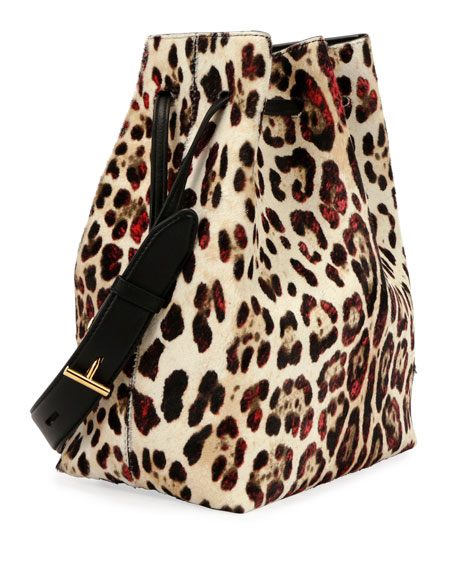 Edge Leopard-Print Calf Hair Hobo Bag