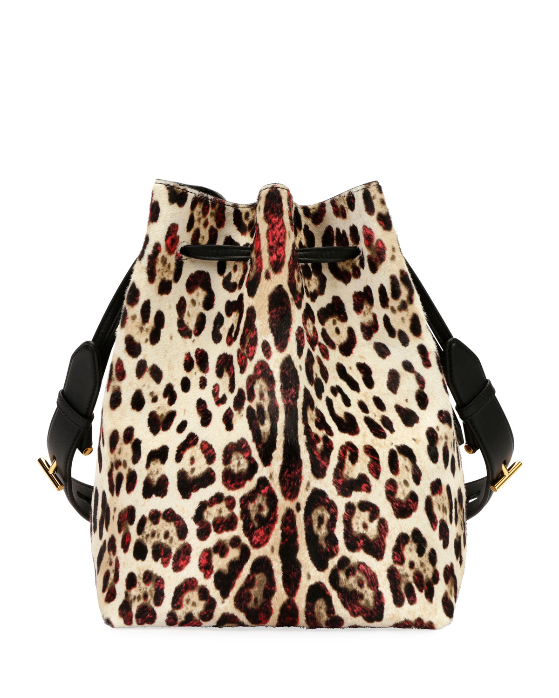 Tom Fordedge Leopard Print Calf Hair Hobo Bag