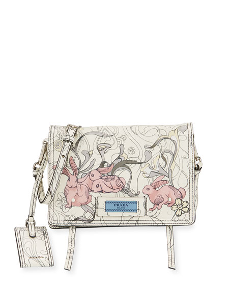 Prada Etiquette Small Rabbit-Print Leather Crossbody Bag