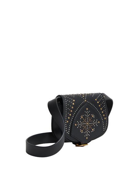 Studded Mini Leather Satchel Bag, Black