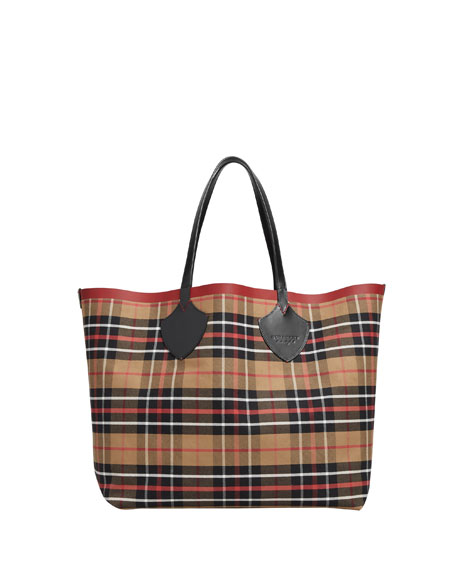 Burberry Reversible Check-Print Tote Bag, Multi