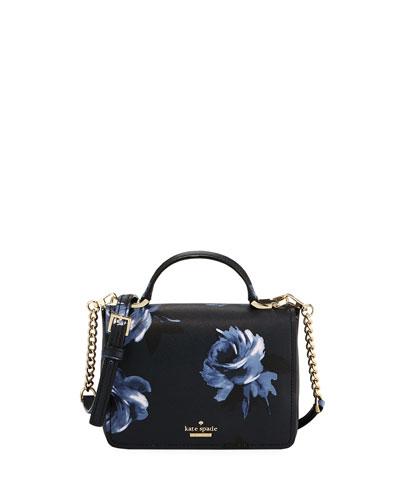 hope rose-print leather shoulder bag, rich navy