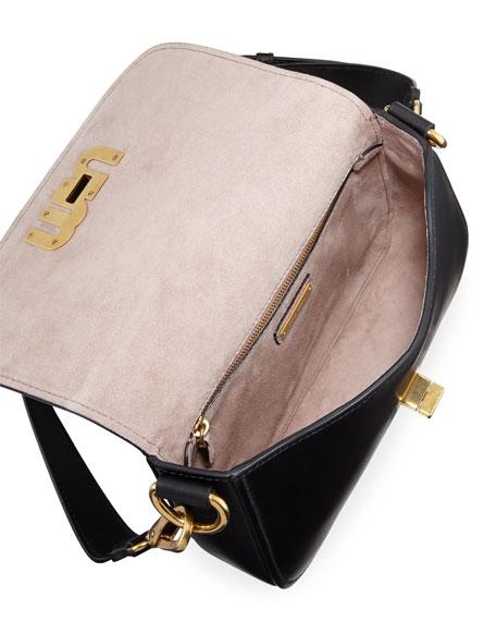 Smooth Turn-Lock City Shoulder Bag