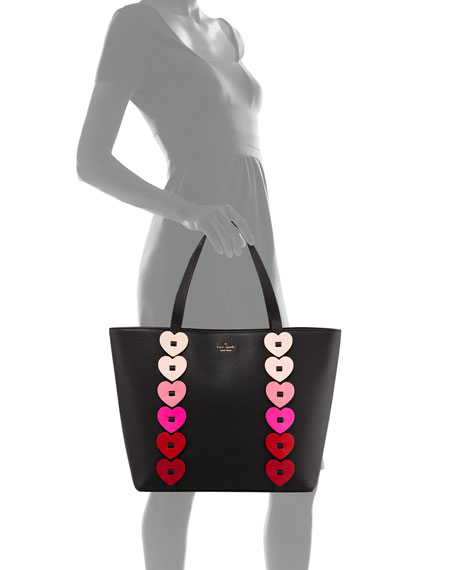 ombré heart-link tote bag, black/multi