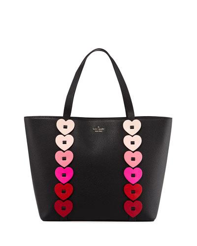 ombré heart-link tote bag, black/multi