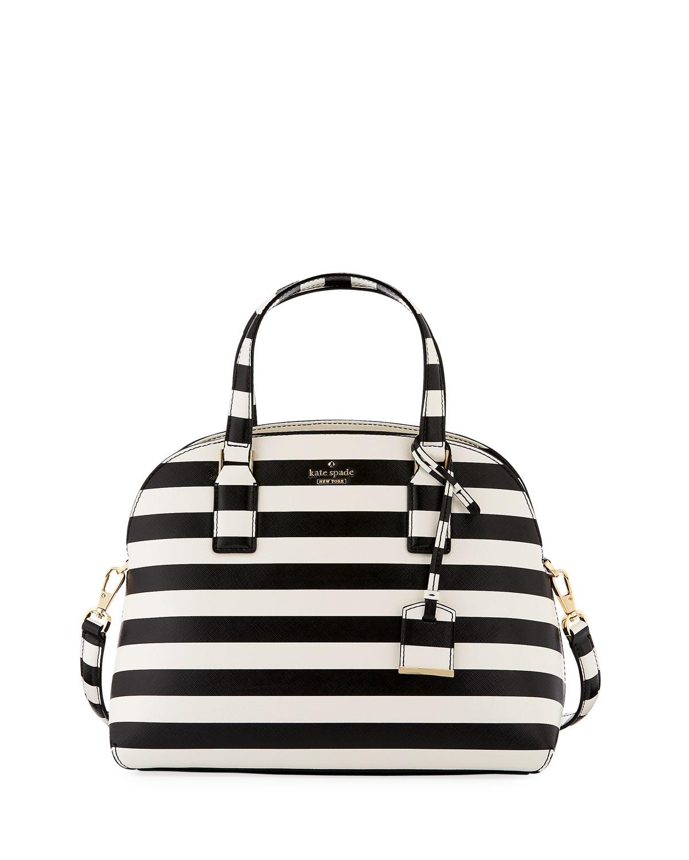 Lottie Striped Top Handle Bag Black Cream