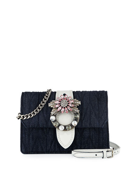 Miu Miu Lady Quilted Denim Shoulder Bag