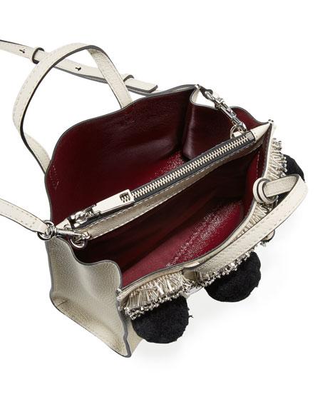Mini Grind Pompom Satchel Bag, Antique White