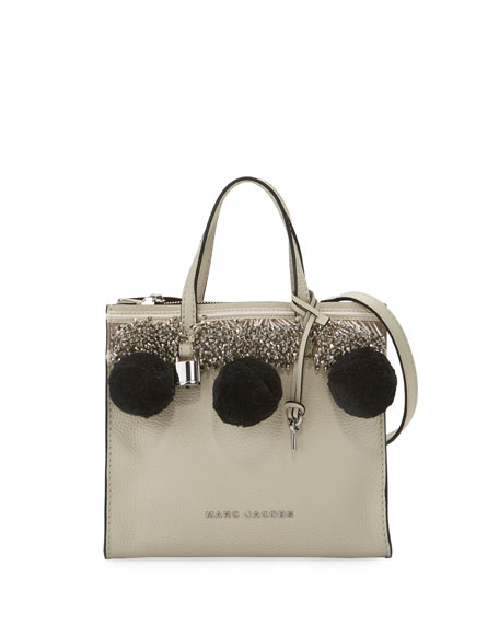 Mini Grind Pompom Satchel Bag, Antique White