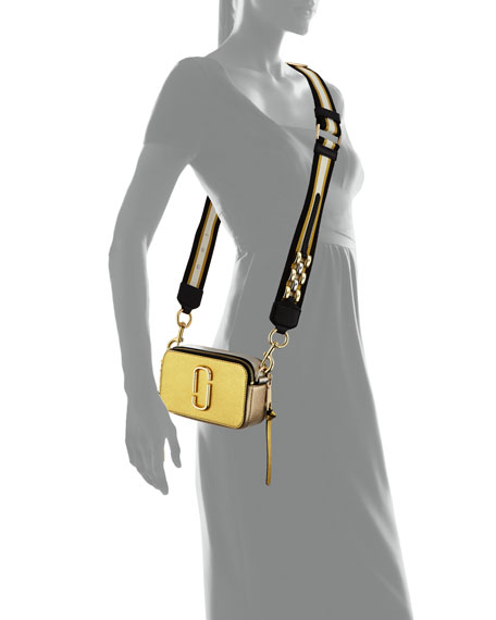 Snapshot Metallic Saffiano Leather Camera Bag