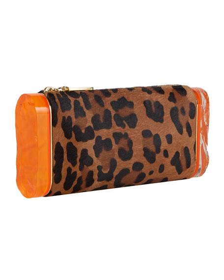 Lara Leopard Calf-Hair Clutch Bag